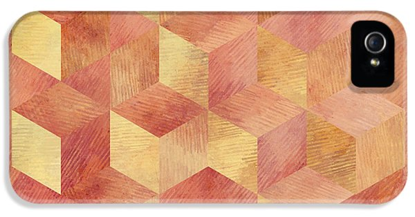 Abstract Red And Gold Geometric Cubes IPhone 5 / 5s Case by Brandi Fitzgerald