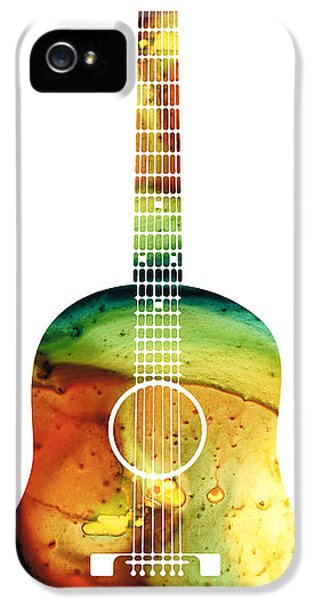 Acoustic iPhone 5 Cases - Acoustic Guitar - Colorful Abstract Musical Instrument iPhone 5 Case by Sharon Cummings