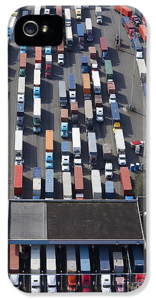 Aerial View Of Semi Trucks At Port IPhone 5 / 5s Case by Don Mason