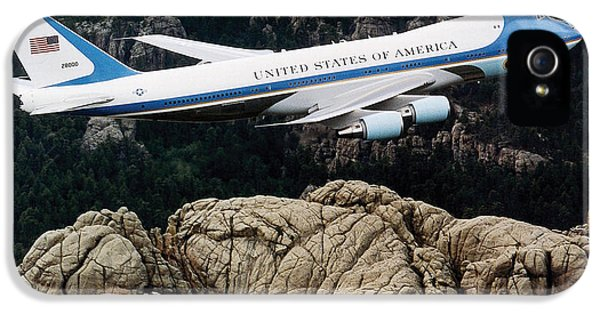 Air Force One Flying Over Mount Rushmore IPhone 5 / 5s Case by War Is Hell Store