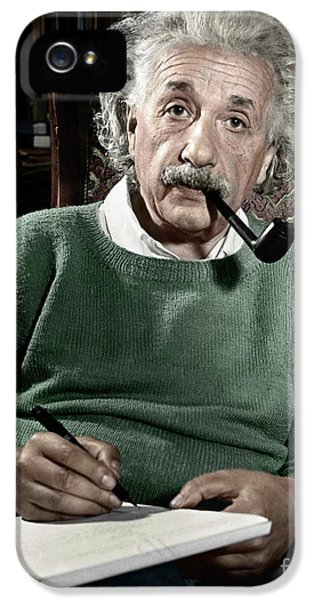 Pipes iPhone 5 Cases - Albert Einstein iPhone 5 Case by Granger