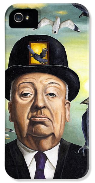 Horror iPhone 5 Cases - Alfred Hitchcock iPhone 5 Case by Leah Saulnier The Painting Maniac