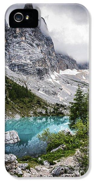 Mountain iPhone 5 Cases - Alpine lake iPhone 5 Case by Yuri Santin
