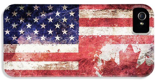 Fourth Of July iPhone 5 Cases - American Canadian Tattered Flag iPhone 5 Case by Az Jackson