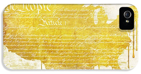 We The People iPhone 5 Cases - Gold American Map Constitution iPhone 5 Case by Mindy Sommers