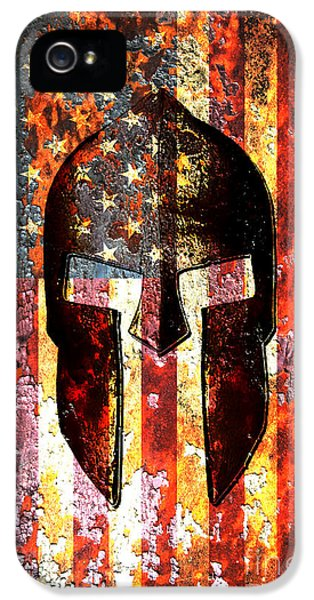American Flag And Spartan Helmet On Rusted Metal Door IPhone 5 / 5s Case by Fred Bertheas