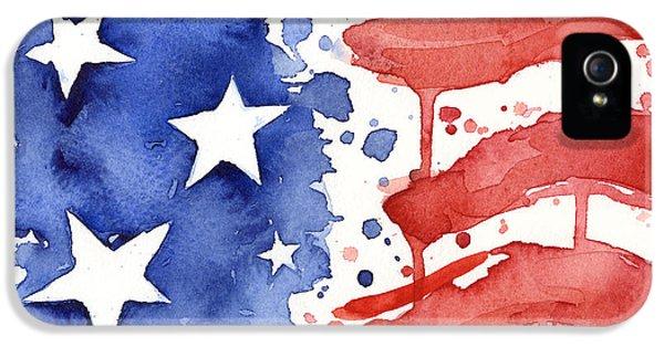 American Flag Watercolor Painting IPhone 5 / 5s Case by Olga Shvartsur