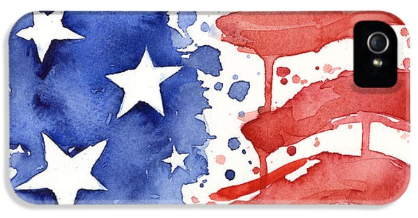 4th July iPhone 5 Cases - American Flag Watercolor Painting iPhone 5 Case by Olga Shvartsur
