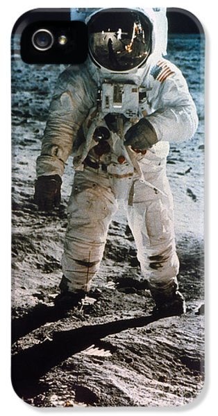 Moon Walk iPhone 5 Cases - Apollo 11: Buzz Aldrin iPhone 5 Case by Granger