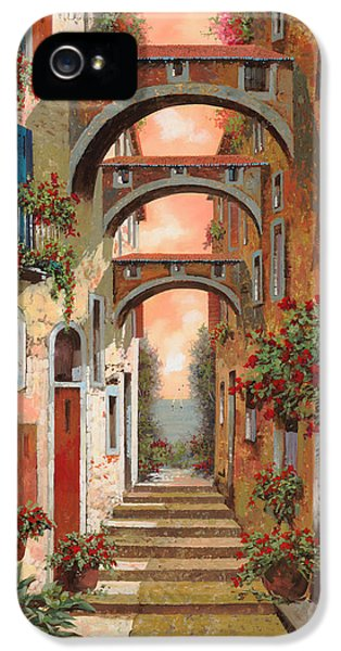 Street Scene iPhone 5 Cases - Archetti In Rosso iPhone 5 Case by Guido Borelli