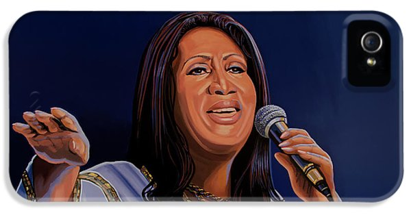 Aretha Franklin Painting IPhone 5 / 5s Case by Paul Meijering