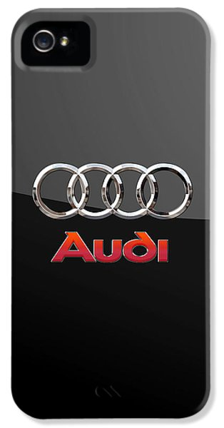 Audi - 3 D Badge On Black IPhone 5 / 5s Case by Serge Averbukh