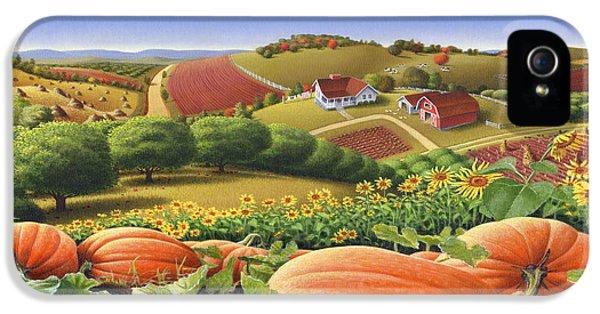 Americana iPhone 5 Cases - Farm Landscape - Autumn Rural Country Pumpkins Folk Art - Appalachian Americana - Fall Pumpkin Patch iPhone 5 Case by Walt Curlee