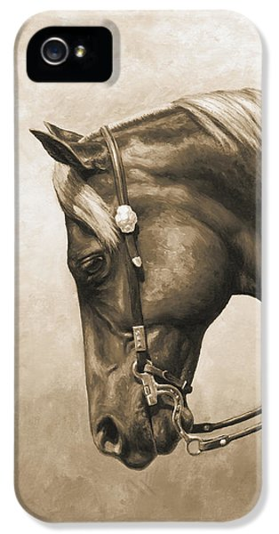 Horse iPhone 5 Cases - Western Horse Painting In Sepia iPhone 5 Case by Crista Forest