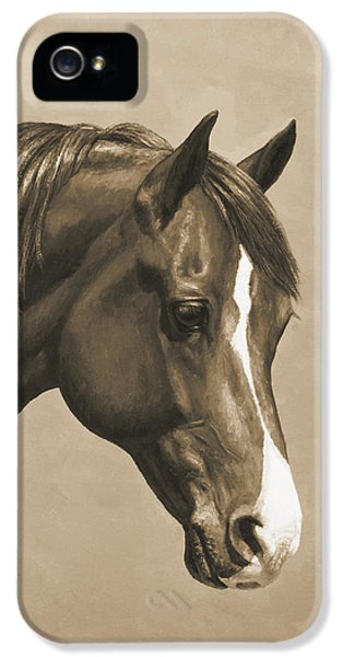 Forrest iPhone 5 Cases - Morgan Horse Painting in Sepia iPhone 5 Case by Crista Forest
