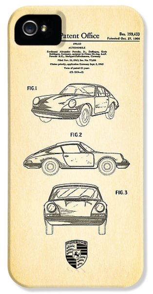 Classic Car iPhone 5 Cases - Porsche 911 Patent iPhone 5 Case by Mark Rogan