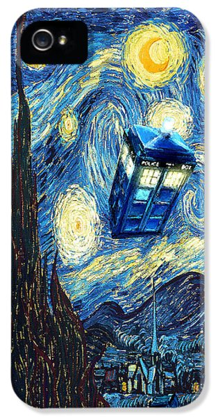 Weird Flying Phone Booth Starry The Night IPhone 5 / 5s Case by Three Second
