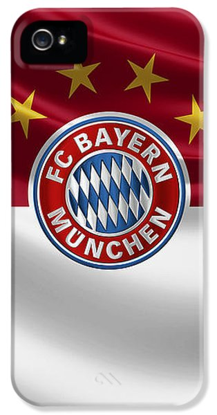 F C Bayern Munich - 3 D Badge Over Flag IPhone 5 / 5s Case by Serge Averbukh