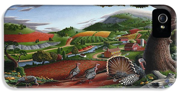 Wild Turkeys Appalachian Thanksgiving Landscape - Childhood Memories - Country Life - Americana IPhone 5 / 5s Case by Walt Curlee
