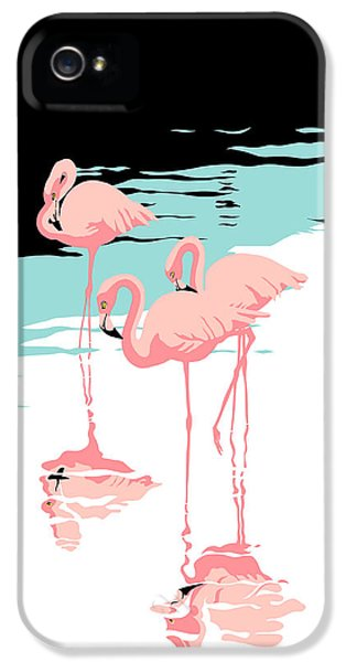 Flamingo iPhone 5 Cases - Pink Flamingos tropical 1980s abstract pop art nouveau graphic art retro stylized florida print iPhone 5 Case by Walt Curlee