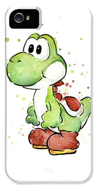 Cartooning iPhone 5 Cases - Yoshi Watercolor iPhone 5 Case by Olga Shvartsur