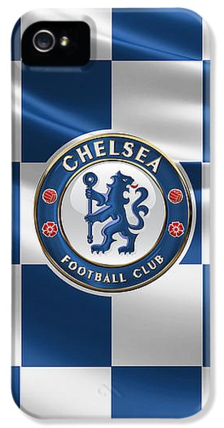 Chelsea F C - 3 D Badge Over Flag IPhone 5 / 5s Case by Serge Averbukh