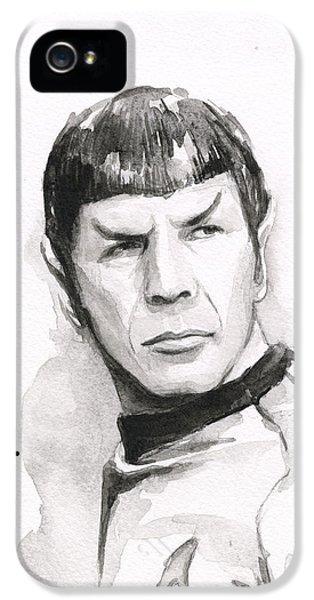 Sci Fi Art iPhone 5 Cases - Spock Portrait iPhone 5 Case by Olga Shvartsur