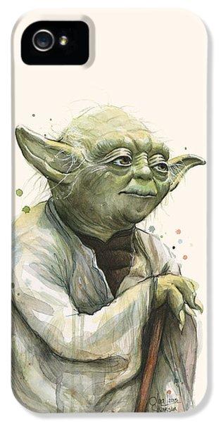 Yoda iPhone 5 Cases - Yoda Portrait iPhone 5 Case by Olga Shvartsur