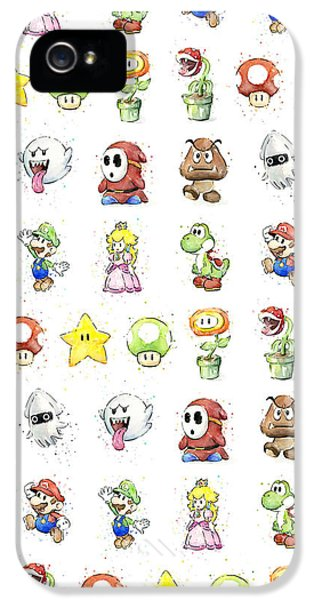 Video Game Art iPhone 5 Cases - Mario Characters in Watercolor iPhone 5 Case by Olga Shvartsur