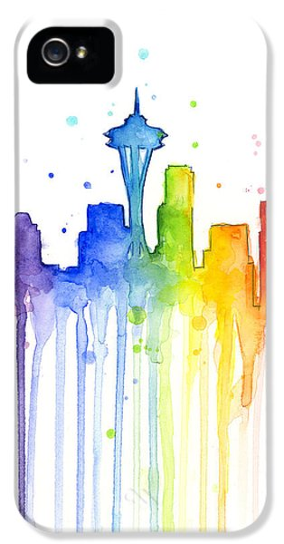 Seattle Rainbow Watercolor IPhone 5 / 5s Case by Olga Shvartsur