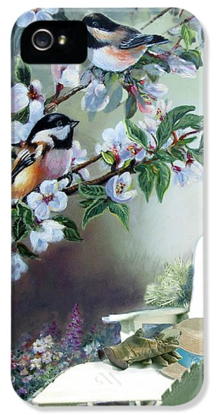 Chickadees In Blossom Tree IPhone 5 / 5s Case by Regina Femrite