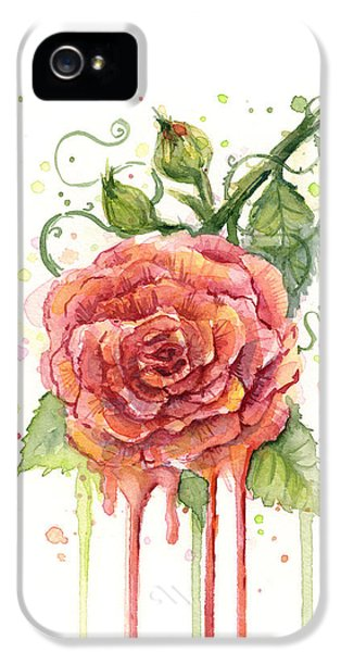 Red Rose Dripping Watercolor  IPhone 5 / 5s Case by Olga Shvartsur