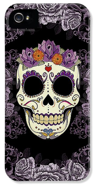 Vintage Sugar Skull And Roses IPhone 5 / 5s Case by Tammy Wetzel