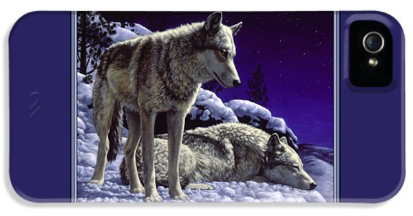 Blue iPhone 5 Cases - Wolf Painting - Night Watch iPhone 5 Case by Crista Forest