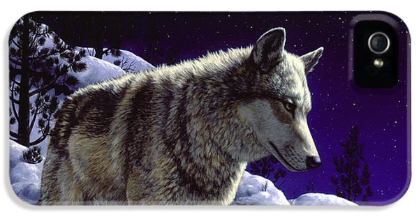 Gray iPhone 5 Cases - Wolf Painting - Night Watch iPhone 5 Case by Crista Forest