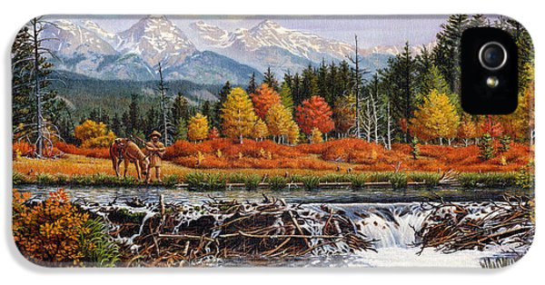 Western Mountain Landscape Autumn Mountain Man Trapper Beaver Dam Frontier Americana Oil Painting IPhone 5 / 5s Case by Walt Curlee