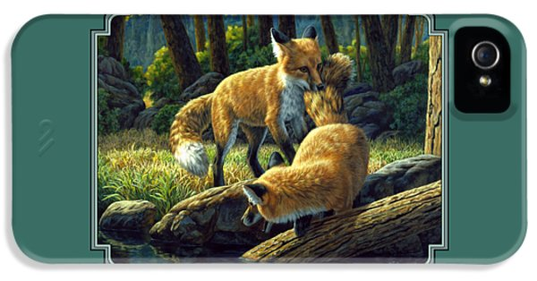 Red Foxes - Sibling Rivalry IPhone 5 / 5s Case by Crista Forest