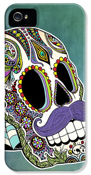 Mexican iPhone 5 Cases - Mustache Sugar Skull iPhone 5 Case by Tammy Wetzel