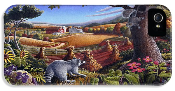 Rural Country Farm Life Landscape Folk Art Raccoon Squirrel Rustic Americana Scene  IPhone 5 / 5s Case by Walt Curlee