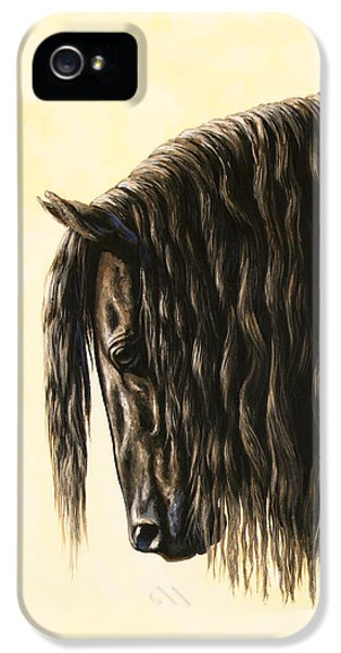 Mane iPhone 5 Cases - Horse Painting - Friesland Nobility iPhone 5 Case by Crista Forest