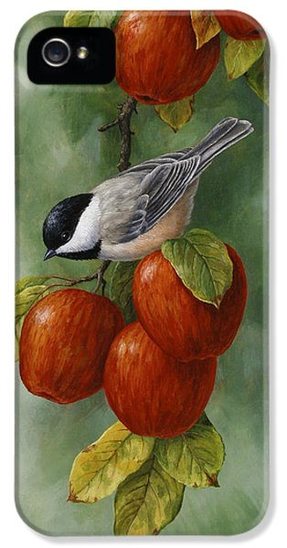 Round iPhone 5 Cases - Bird Painting - Apple Harvest Chickadees iPhone 5 Case by Crista Forest