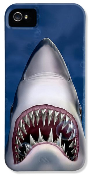Jaws Great White Shark Art IPhone 5 / 5s Case by Walt Curlee