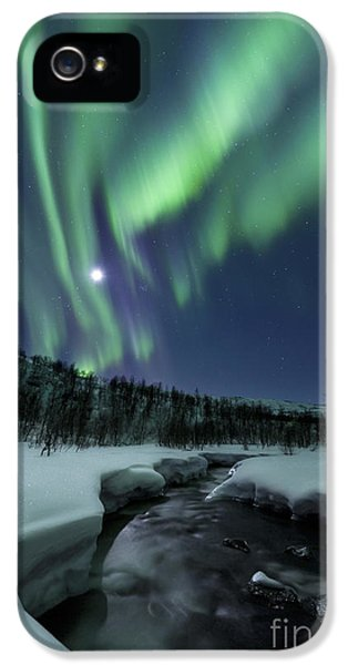 Dramatic Skies iPhone 5 Cases - Aurora Borealis Over Blafjellelva River iPhone 5 Case by Arild Heitmann