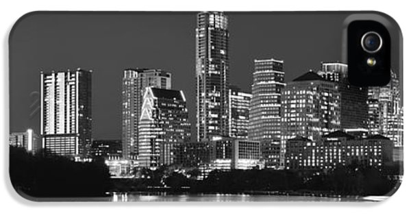 City Scene iPhone 5 Cases - Austin Skyline at Night Black and White BW Panorama Texas iPhone 5 Case by Jon Holiday