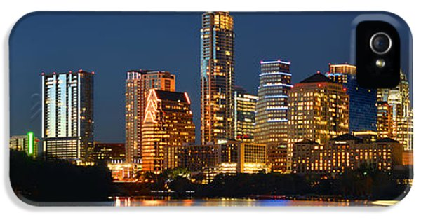 Texas iPhone 5 Cases - Austin Skyline at Night Color Panorama Texas iPhone 5 Case by Jon Holiday