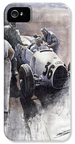 B iPhone 5 Cases - Auto Union B type 1935 Italian GP Monza B Rosermeyer iPhone 5 Case by Yuriy  Shevchuk