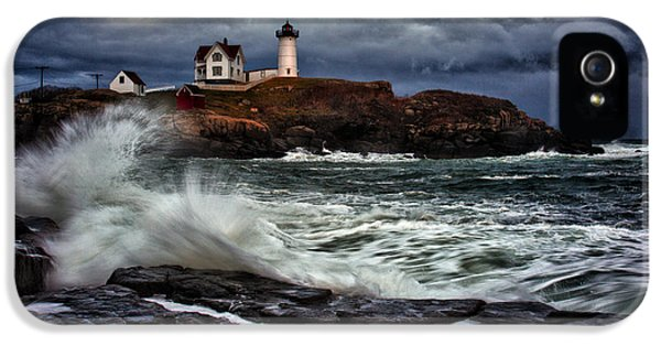 Lighthouse iPhone 5 Cases - Autumn Storm at Cape Neddick iPhone 5 Case by Rick Berk
