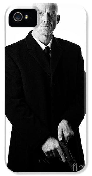 British Crime iPhone 5 Cases - Bald Headed Man Wearing Heavy Black Overcoat Cocking Automatic Handgun iPhone 5 Case by Joe Fox