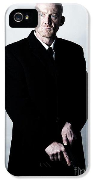 British Crime iPhone 5 Cases - Bald Headed Man Wearing Heavy Black Overcoat Cocking Automatic Handgun Model Released Image iPhone 5 Case by Joe Fox