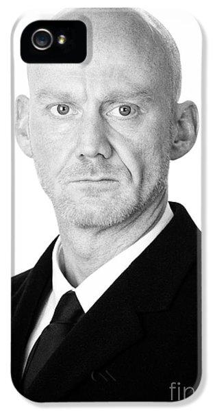 British Crime iPhone 5 Cases - Bald Headed Man Wearing Heavy Black Overcoat iPhone 5 Case by Joe Fox